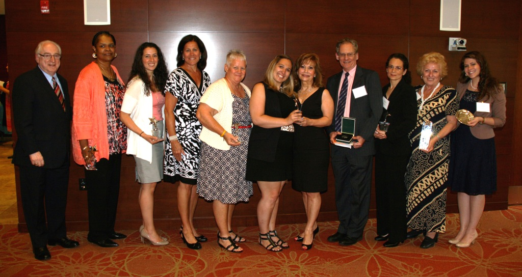 Award winners and presenters, from left to right: Richard Guarasci, Pamela Washington, Amanda Cortese, Patricia Tooker, Susan Shepherd, Danielle Arena, Carin Guarasci, Stephen Preskill, Melissa Morris, Evelyn Finn and Samantha Siegel.