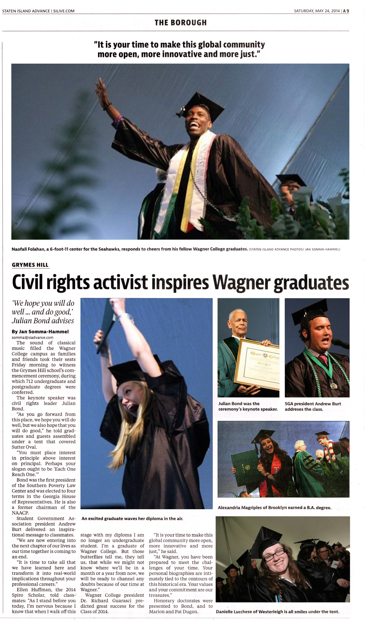 140524 Advance, Civil rights activist inspires Wagner graduates (half-res)