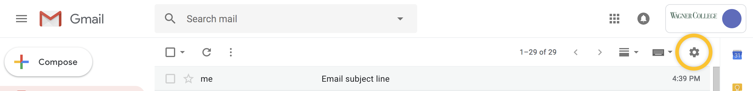 Screenshot of Gmail bar with a circle around the Settings icon
