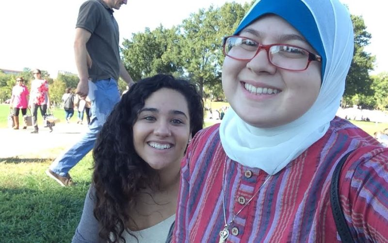 My friend, Jazmin, and me enjoying the weather and Washington Monument.