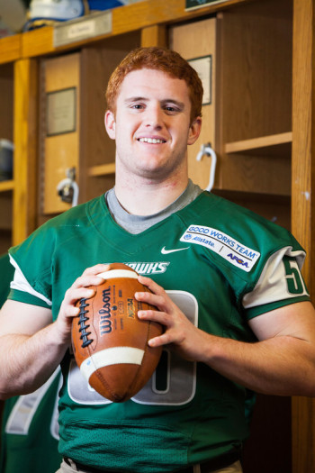 Football player, chosen for the 2014 Allstate AFCA Good Works Team.