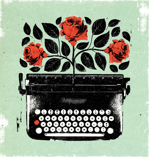 illustration showing typewriter with roses growing out of it